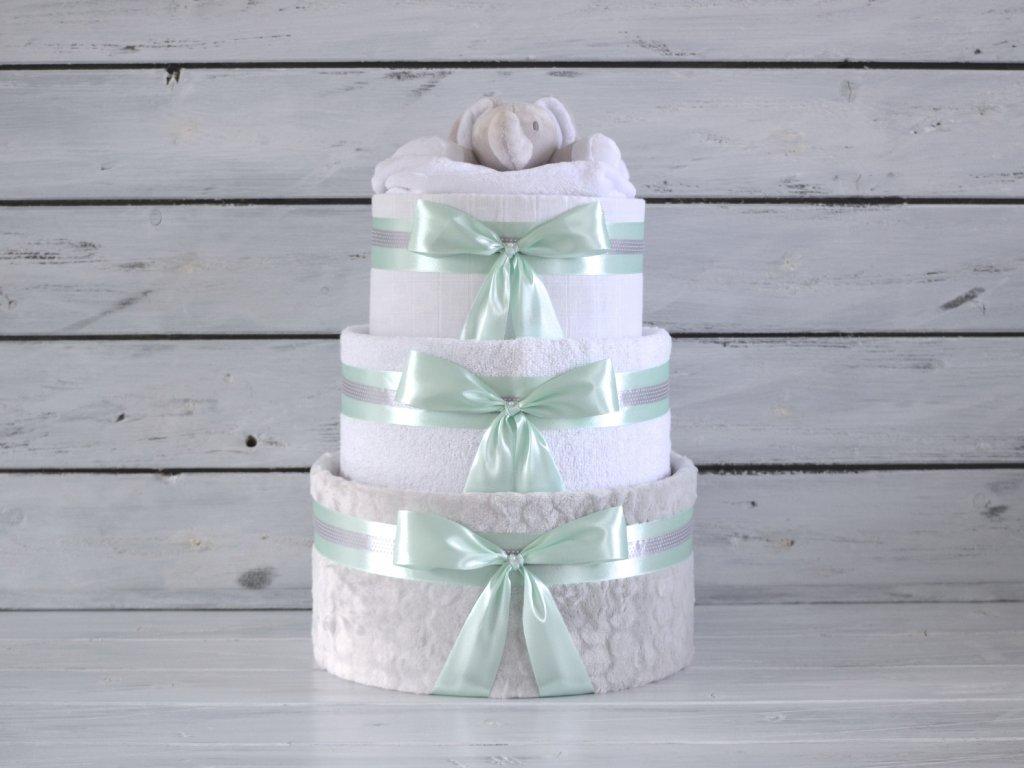 Třípatrový plenkový dort I. smetanový s růžovou mašlí