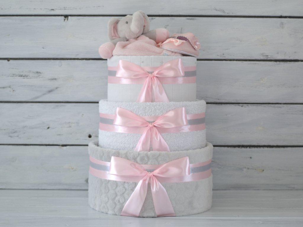 Třípatrový plenkový dort II. růžový