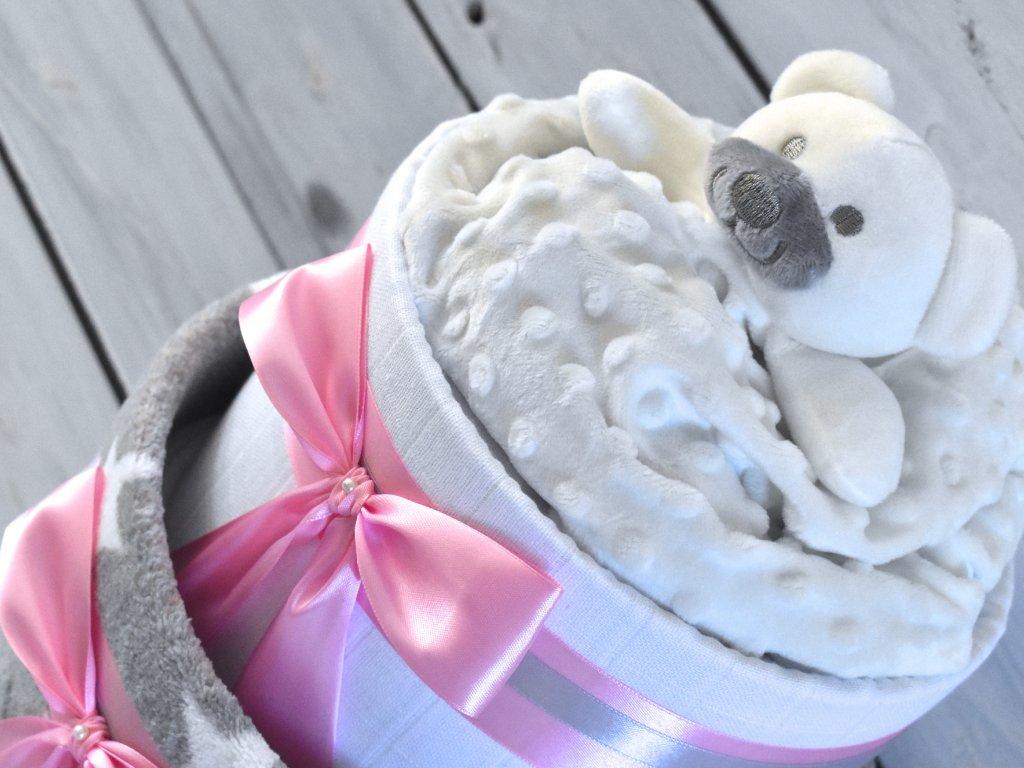 Plenkový dort dvoupatrový 18 růžová mašle