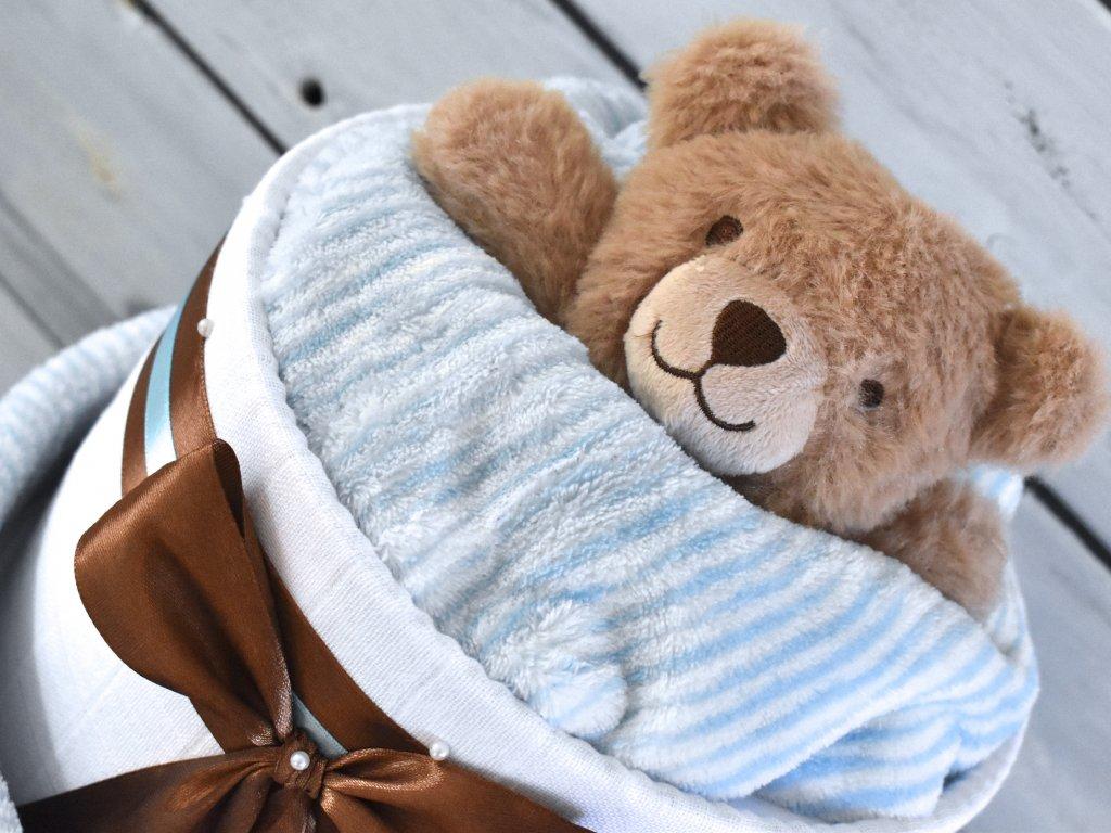 Dvoupatrový plenkový dort IV. pro chlapečky set deky a usínáčka ve tvaru medvídka 3