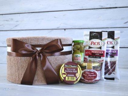 Jednopatrový ručníkový dort GOURMET malý s olivami