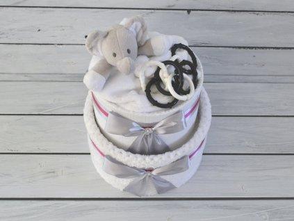 Dvoupatrový plenkový dort s černobílým Šapiťákem a růžovými mašlemi