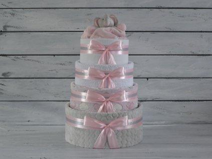 Čtyřpatrový plenkový dort I. šedo-růžový