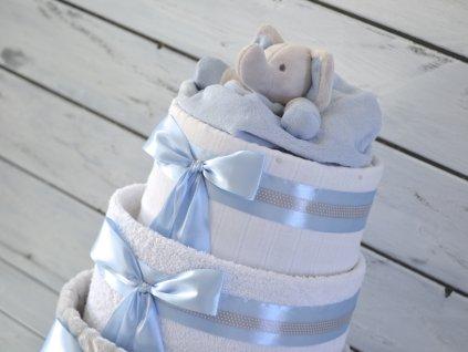 Třípatrový plenkový dort II. modrý