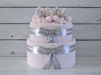 Dvoupatrový plenkový dort zdobený dvěma medvídky