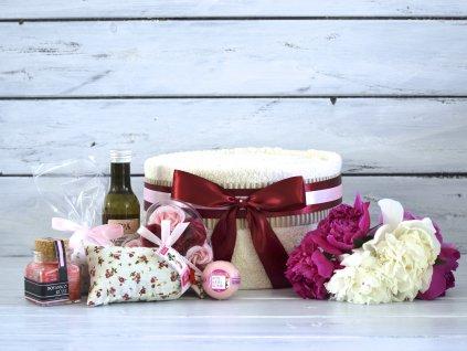 Jednopatrový svatební ručníkový dort