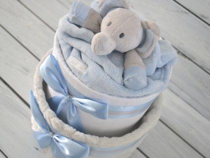 Dvoupatrový plenkový dort VI. s šedou dekou a sloníkem se světle modrou stuhou