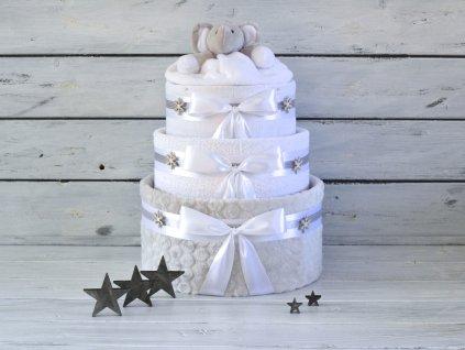 Třípatrový vánoční plenkový dort se sloníkem