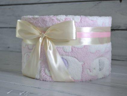 Jednopatrový plenkový dort I. s různými vzory dek