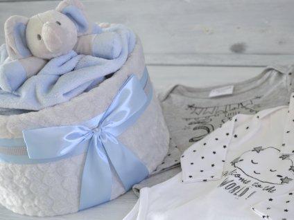 Jednopatrový plenkový dort XIII. s milníkovými bodyčky - modrá a slon