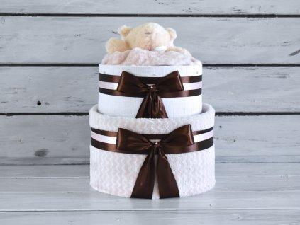 Dvoupatrový plenkový dort XI. pro holčičky set deky a medvídka