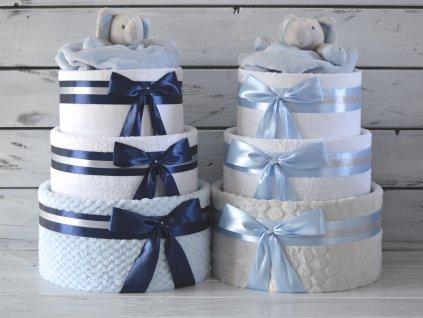 Třípatrový plenkový dort I. zdobený medvídkem nebo sloníkem usínáčkem