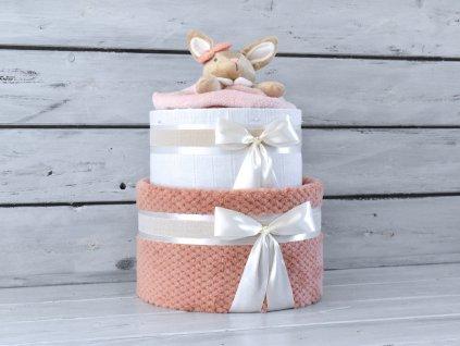 Dvoupatrový plenkový dort IV. pro holčičky set deky a usínáčka ve tvaru zajíčka