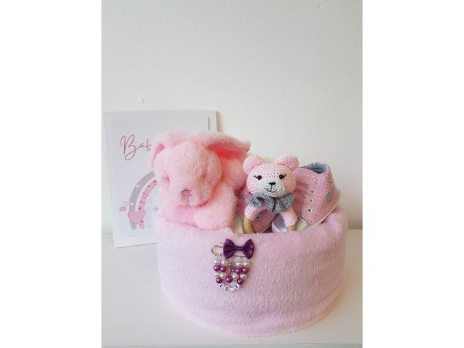 Plenkový dort - Zajíček BABY  pink