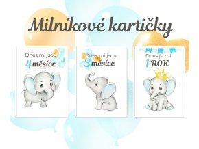Milníkové kartičky - sloník blue