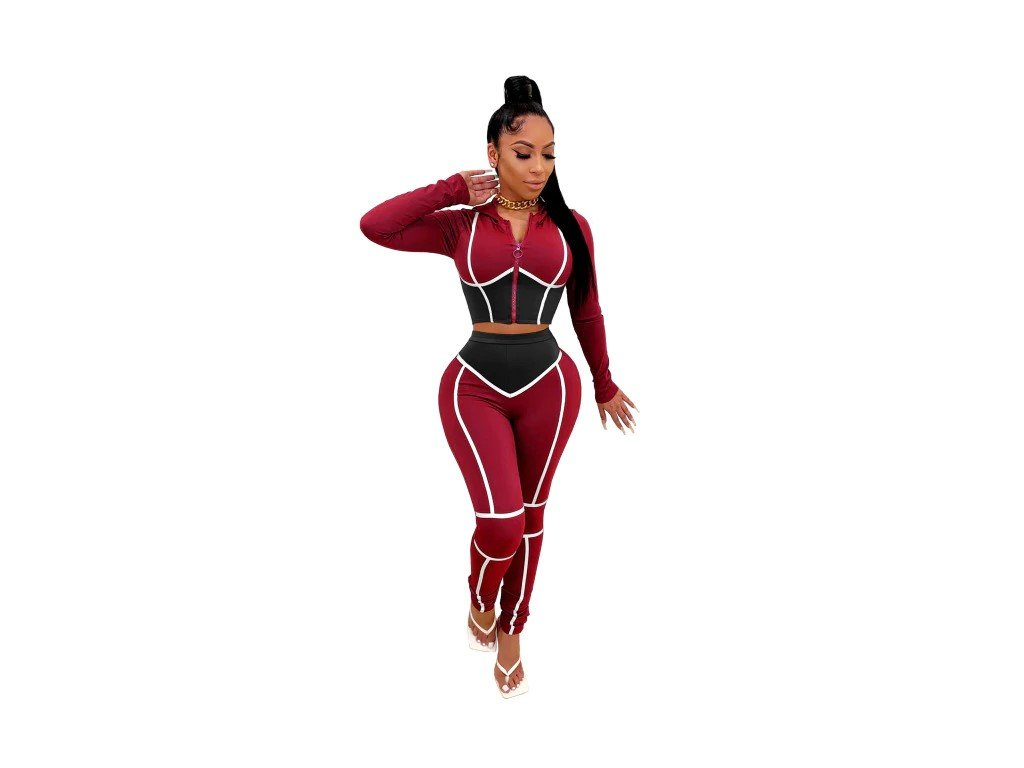 JRRY Women Tracksuit Two Pieces Set Zippers Hooded Top Long Pants 2 Pie