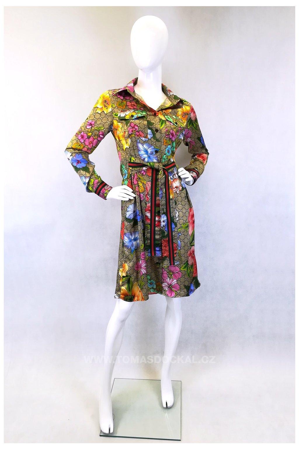Košilové šaty z materiálu od značky Gucci / béžové