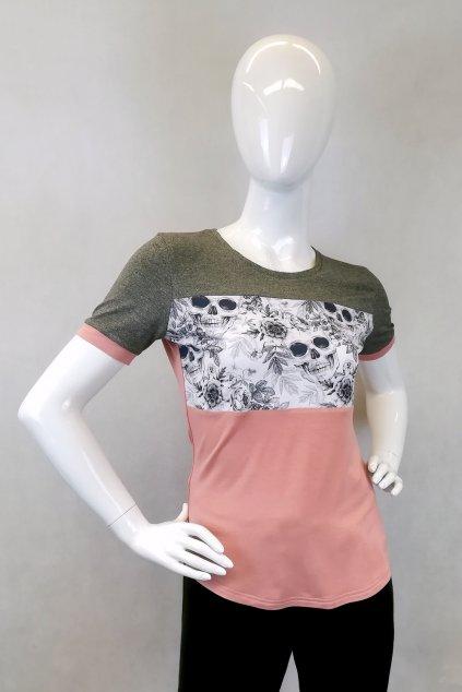 Bambusové tričko s květy a lebkami