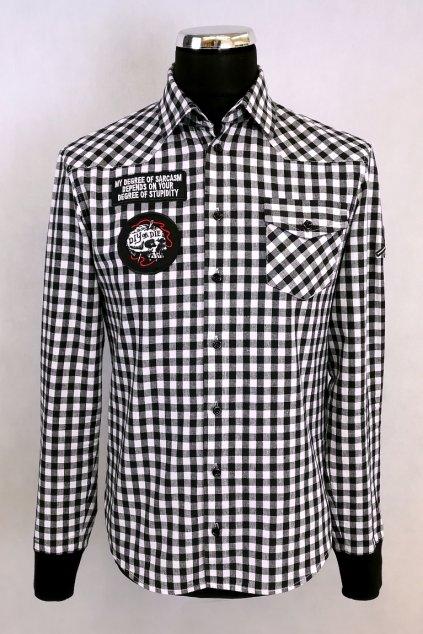 Košile černobílá kostka s nášivkami