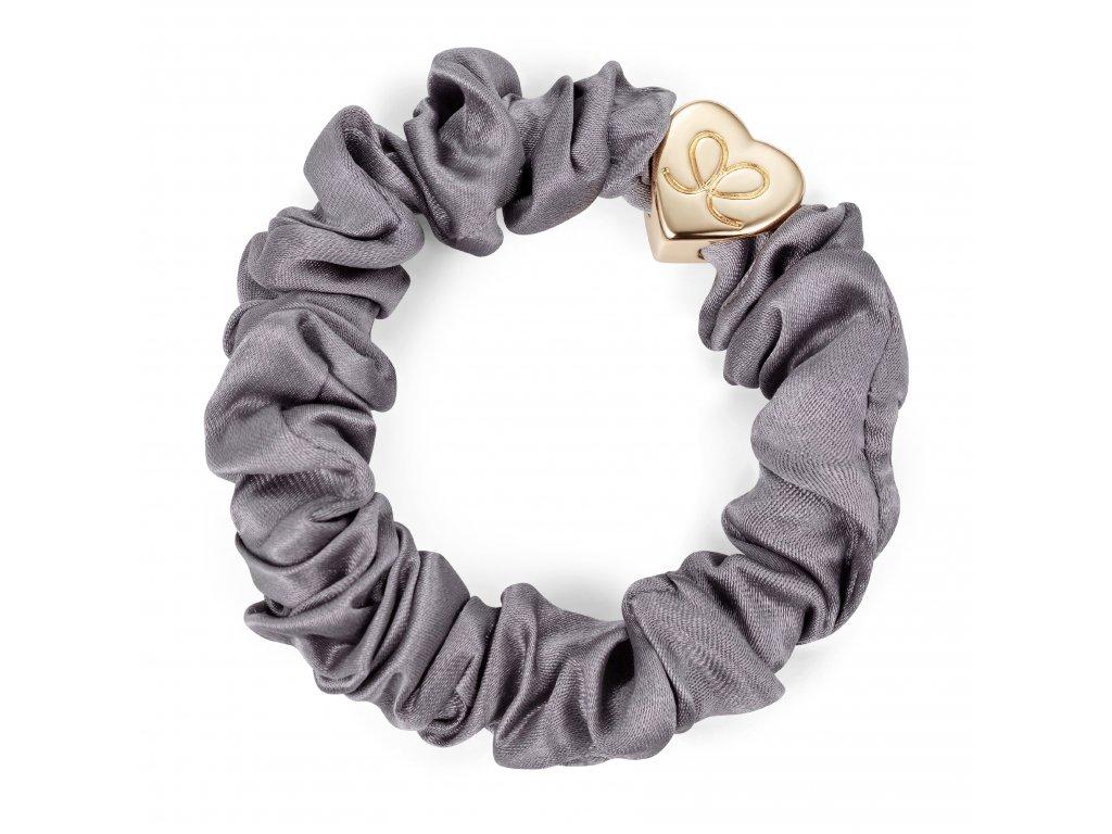 Gold Heart Silk Scrunchie Grey