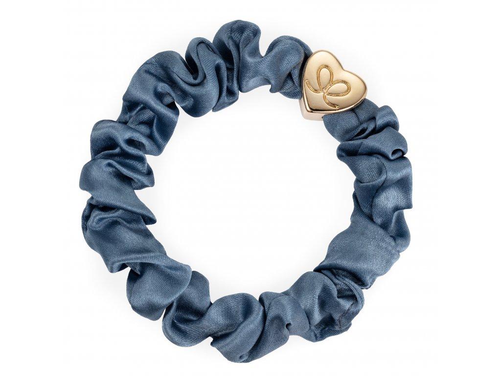 Gold Heart Silk Scrunchie Faded Denim