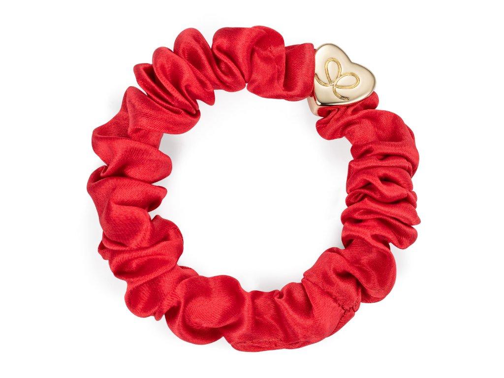 Gold Heart Silk Scrunchie Cherry Red