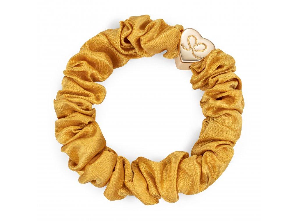 Gold Heart Silk Scrunchie Mustard