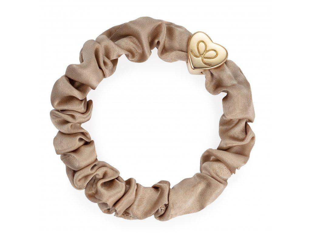 Gold Heart Silk Scrunchie Sand