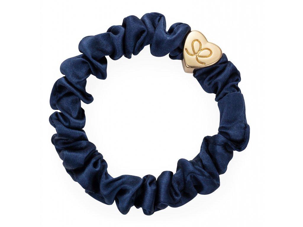 Gold Heart Silk Scrunchie Navy