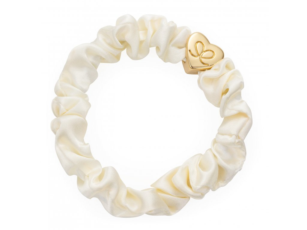 Gold Heart Silk Scrunchie Cream