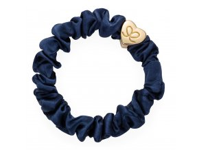 Gold Heart Silk Scrunchie Navy