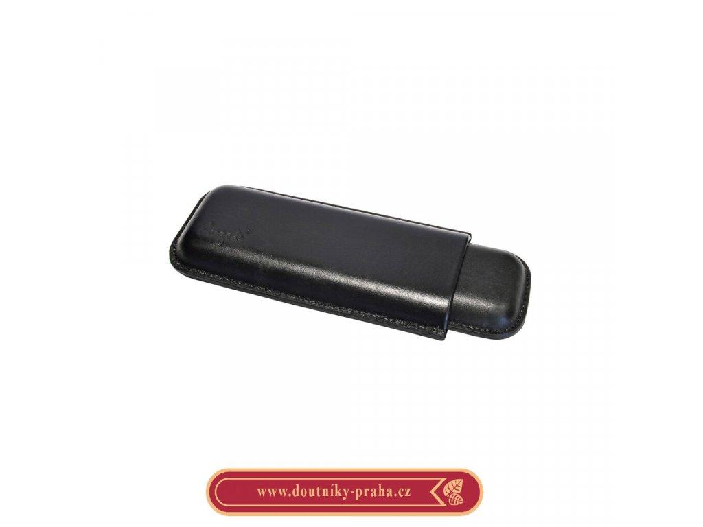 Pouzdro na 2 doutníky Etue Angelo černé kožené 180mm