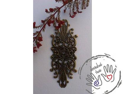 Filigrán ozdobný kovový 8,5x3,4 cm, bronz