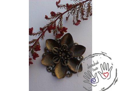 Filigránová kytička antická 45x42mm, bronzová