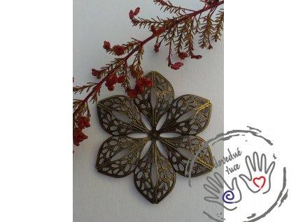 Filigránový květ kovový 60x53mm bronzový