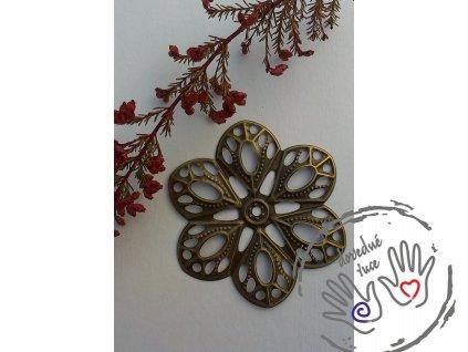 Filigrán / kovový výřez květinový 60x54mm, bronz