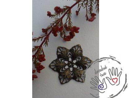Filigrán / kovový výřez ozdobný květinový 35x30mm, bronz