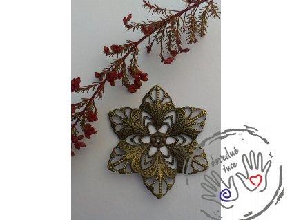 Filigrán / kovový výřez ozdobný květinový 57mm, bronz