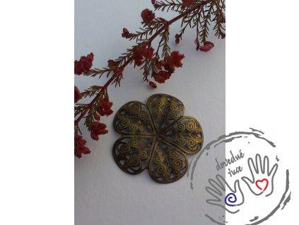 Filigránový antický květ kovový 36x36mm, bronz