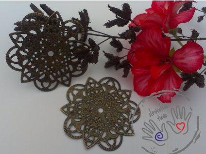 Filigrán / kovový výřez květinový 46mm, bronz