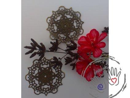Filigrán / kovový výřez květinový ozdobný 55 mm, bronz