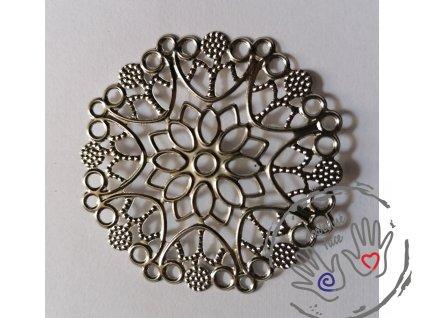 Filigrán / kovový výřez květinový 50mm, stříbrný