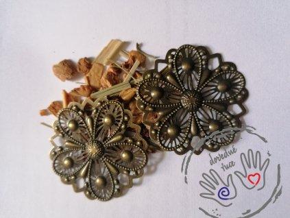 Filigrán / kovový výřez květinový 48mm, bronz