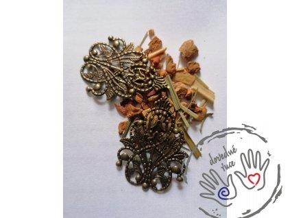 Filigrán ozdobný kovový 4,8×3,5 cm, bronz