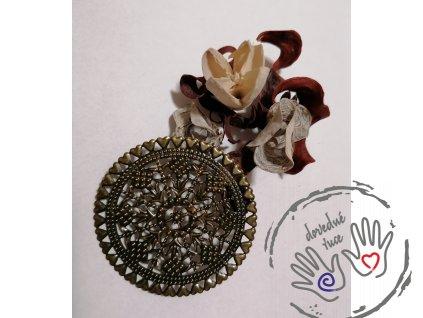 Filigrán velký kovový kulatý se srdíčky 60 mm, bronz