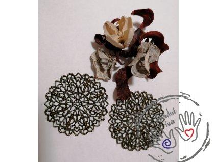 Filigrán kovový kulatý květinový 5,2 cm, bronz