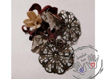 Filigrán / kovový výřez květinový 41mm, bronz
