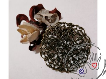 Filigrán / kovový výřez květinový 5,6 cm, bronz