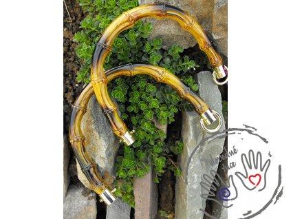 Půlkruhy - imitace bambus - s kovovými kroužky, lak.