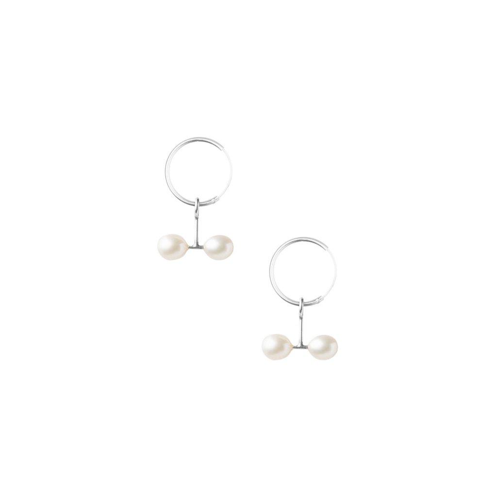 Náušnice Kroužky s dvěma perlami